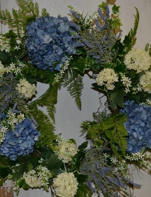 Whimsical Blue Hydrangea Wreath