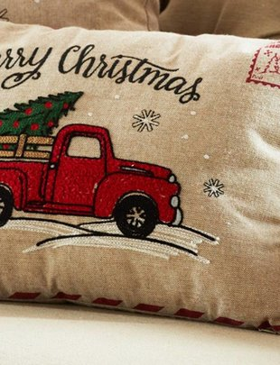 Rectangle Embroidered Red Truck Pillow
