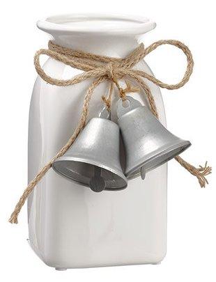 White Vase w/ Silver Bells