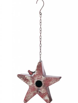 Metal Red Star Birdhouse