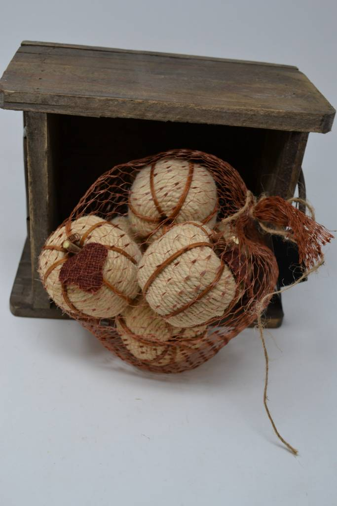 Bag of 6 Cream Twine Pumpkins
