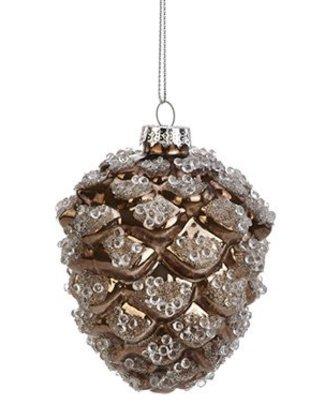 Iced Metallic Pinecone Ornament
