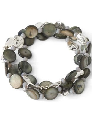 Abalone Disc and Silver Triple Strand Stretch Bracelet