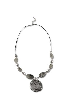 Grey Beaded Spiral Disc Necklace
