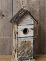 Distressed Birdhouse with Flower and Vines