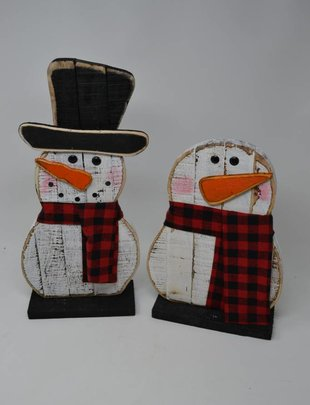 Wooden Plaid Scarf Snowman (2 Styles)