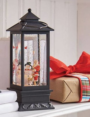 LED Santa & Snowman Snow Globe Lantern