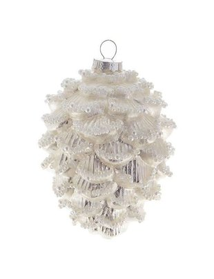 Beaded Silver Pinecone Ornament