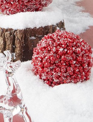 Iced Red Berry Ball Ornament