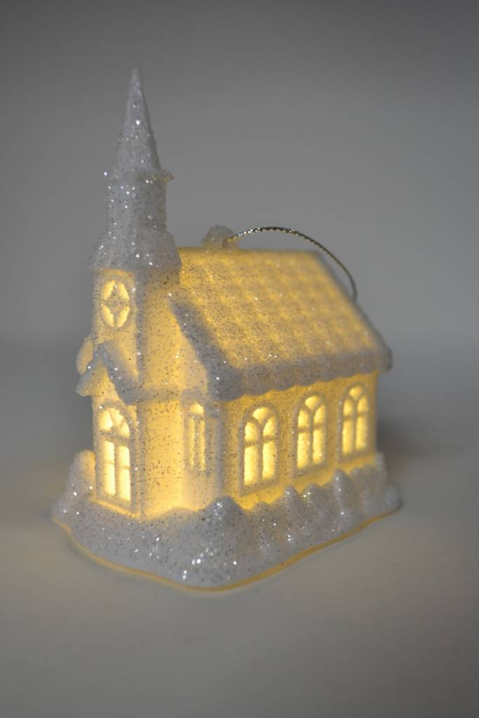 Light-up Frosted Church Ornament