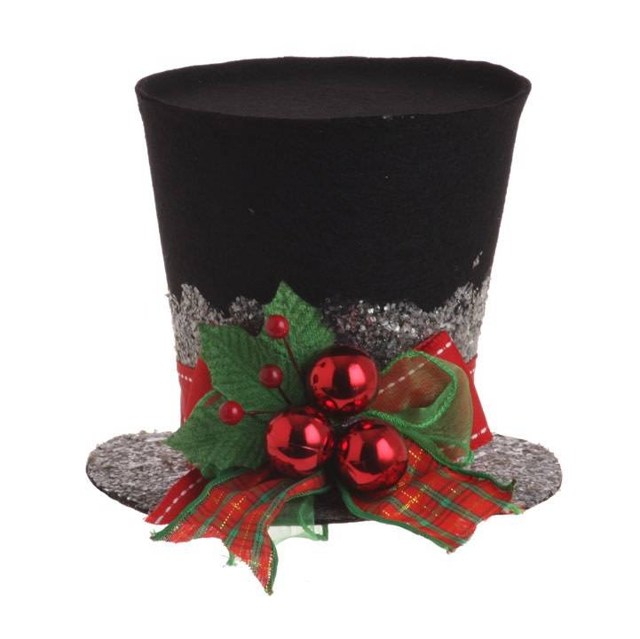 "5"" Felt Holly Top Hat"