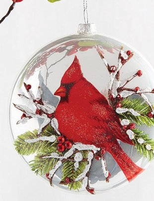 Glass Cardinal Disc Ornament