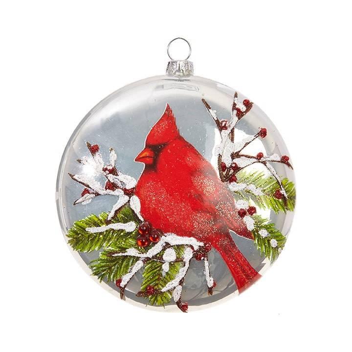 Glass Cardinal Disc Ornament