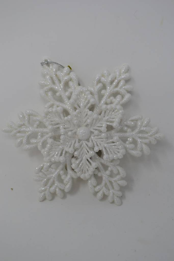 White Glitter Snowflake Ornament