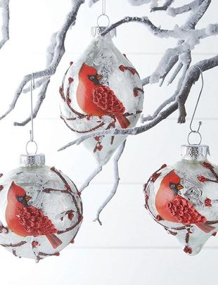 Cardinal Branch Ornament (3 Styles)
