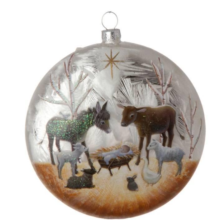 Glass Nativity Disc Ornament