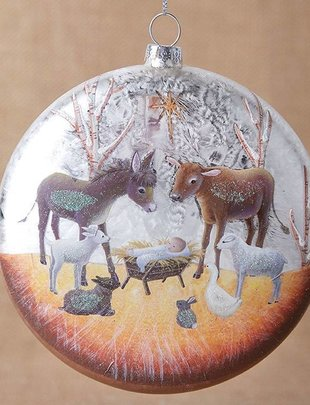 Glass Nativity Disc Ornament