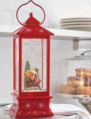LED Red Santa Snow Globe Lantern