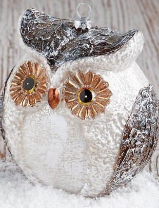 "6"" Glass Glitter Owl Ornament"