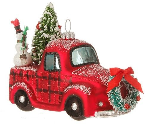 Snowy Red Truck Ornament
