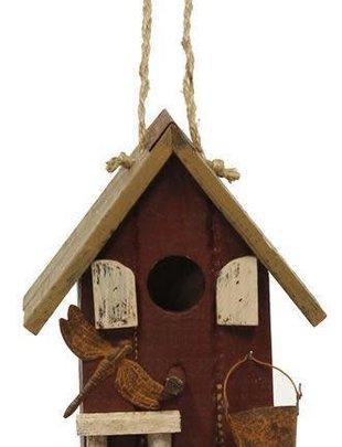 Burgundy Slatted Birdhouse w/ Dragonfly