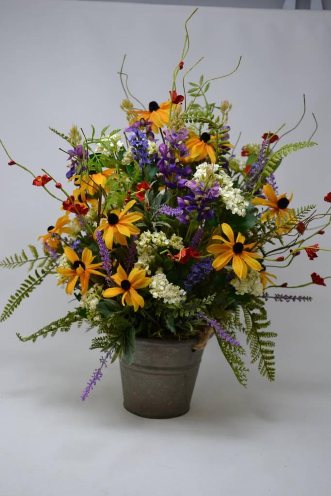 Custom Wildflower Arrangement in Galvanized Pail