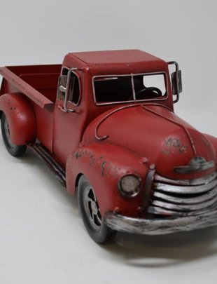 Red Metal Antique Truck