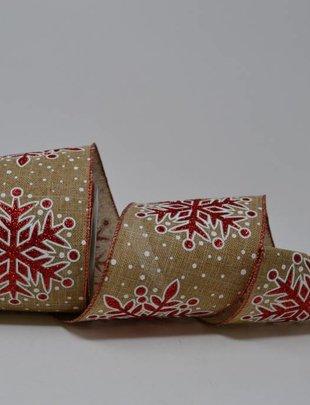 Linen Glitter Snowflake Ribbon 10 Yds