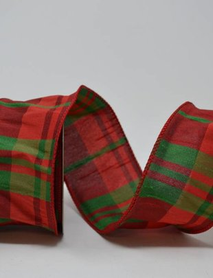 Red Green Dupion Plaid Ribbon 10 Yds