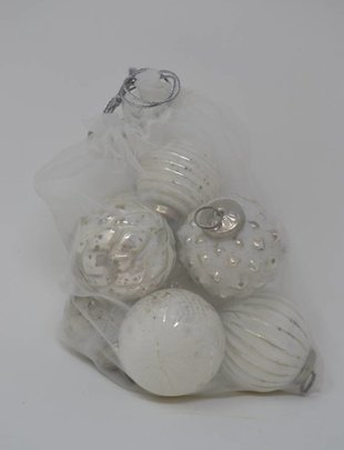 Set of 8 Patterned Ball Ornaments (2 Colors)