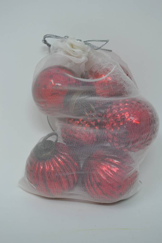 Set of 6 Red Patterned Ball Ornaments