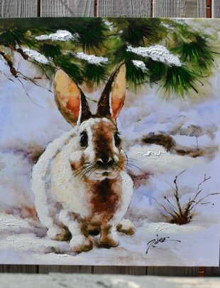 Snow Bunny Oil Canvas