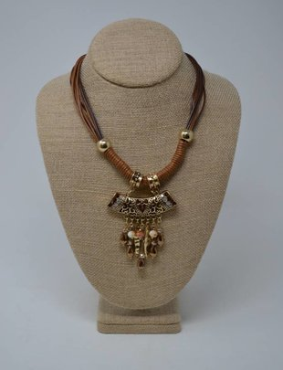 Short Brown Charm Necklace