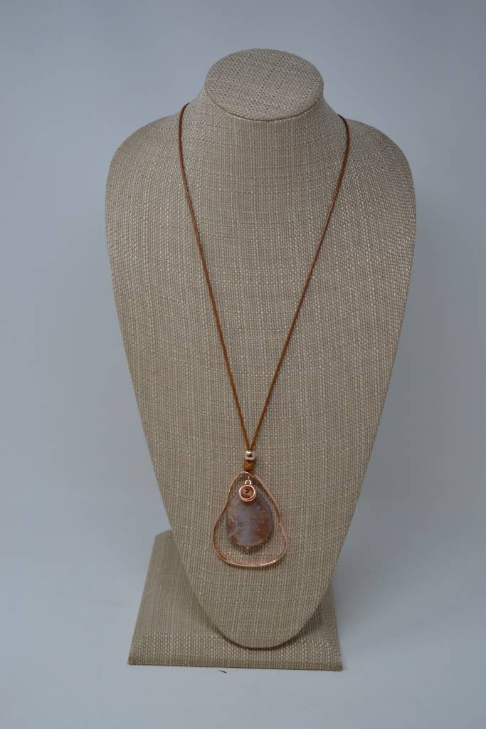 Asymmetrical Copper Oval Stone Necklace