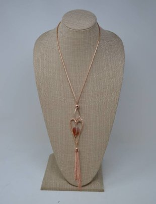 Rose Gold Stone Heart Necklace