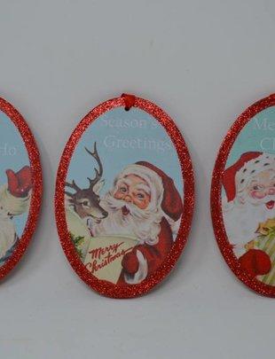 Retro Oval Santa Ornament (3 Styles)