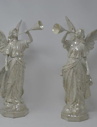 Set of 2 Iced Trumpet Angels