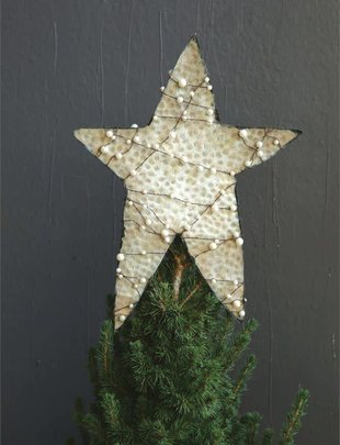 Pearl Wrapped Metal Star Tree Topper