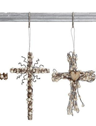 Pearl Wrapped Cross Ornament (4 Styles)