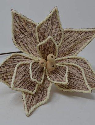 Linen Birch Poinsettia Stem