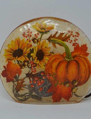 Oval Lighted Crackle Vase
