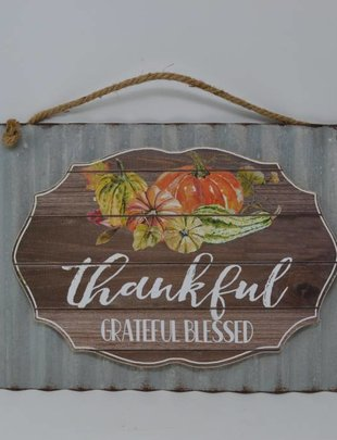 Thankful Greatful Blessed Metal Sign