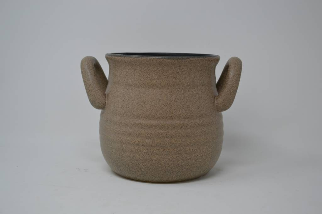 """5.5"""" Taupe Handled Container"""