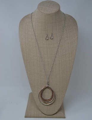 Mixed Metal Teardrop Necklace Set