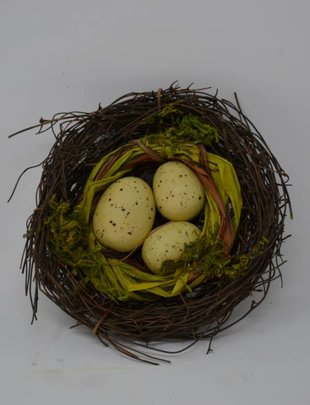 "4.5"" Nest With Speckled Eggs"