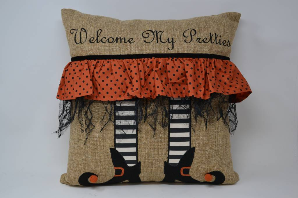 Burlap Witch Legs Pillow