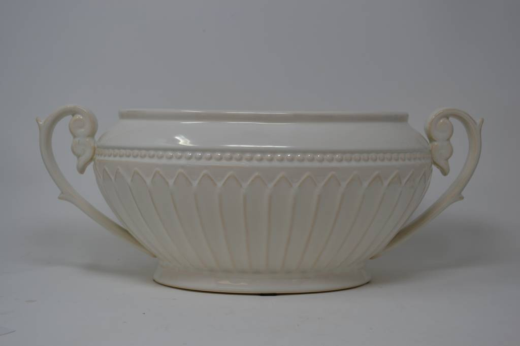 Cream Oblong Fluted Bowl