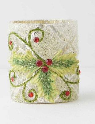 Jeweled Holly Candle Holder (2 Sizes)