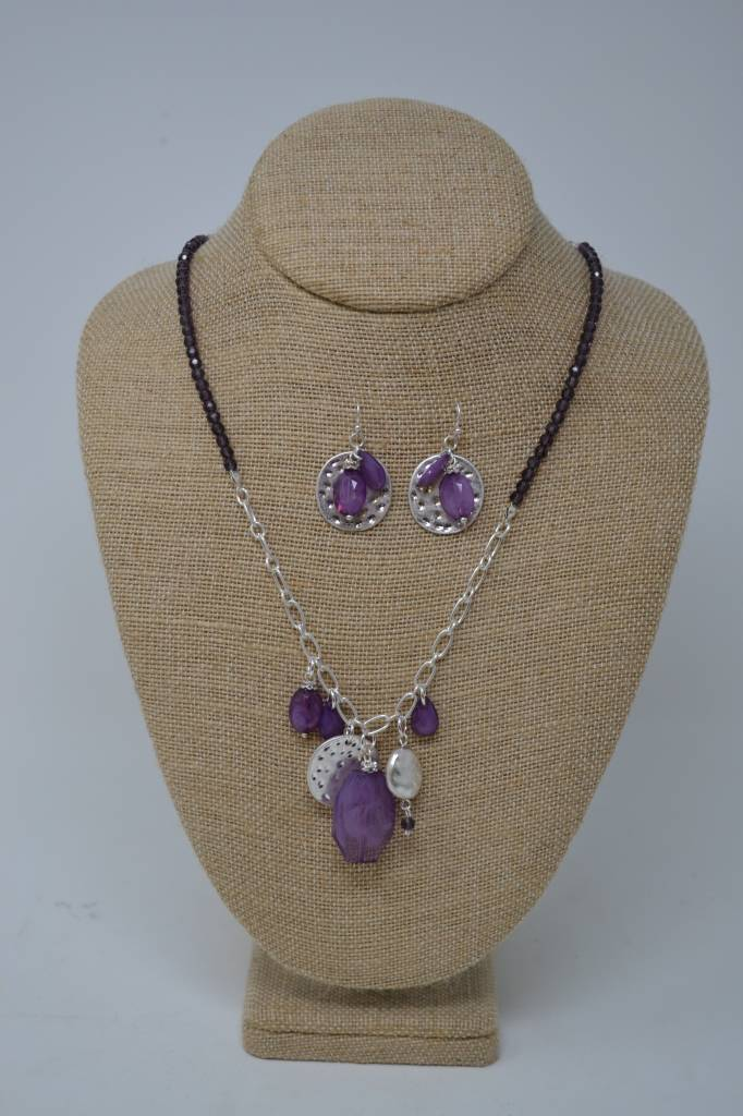 Purple Beaded Cluster Necklace Set