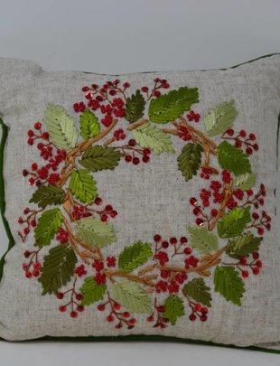 Square Sequin Wreath Pillow